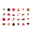 sweet confectionery snack food candy icons vector image vector image