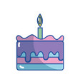 tasty cake desset with candle to eat vector image vector image