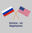 the russia and united states flags crossed vector image vector image