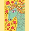 unicorn horse - doodle cartoon drawing vector image