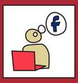 unusual look facebook logotype social network vector image vector image