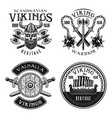 vikings set four emblems badges logos vector image vector image