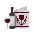 wine bottle cup and menu vector image vector image