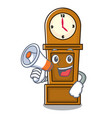 with megaphone grandfather clock character cartoon vector image vector image