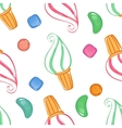 Colorful ice-cream seamless pattern with candies vector image