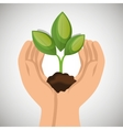 hands holding plant green concept ecological vector image