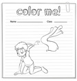 A worksheet with a young boy kneeling vector image vector image