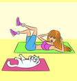 aerobics with cat vector image