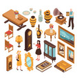 antiquarian isometric set vector image