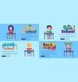 back to school collection of posters with pupils vector image vector image