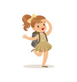 beautiful happy little girl in scout costume with vector image vector image