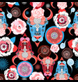 beautiful pattern portraits bulls vector image