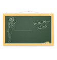 blackboard with business woman and presentations vector image vector image