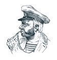 boatswain with pipe sea captain marine old vector image