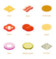 burger ingredient icons set cartoon style vector image