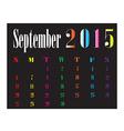 Calendar September 2015 vector image vector image