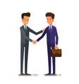 cartoon business people handshake for dealing vector image