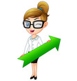 cartoon businesswoman holding a green arrow vector image