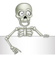 cartoon skeleton holding blank sign vector image vector image