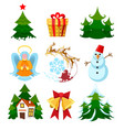 colored xmas icons vector image vector image