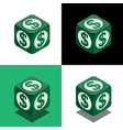 cube with dollar logo in isometric view vector image vector image