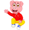 cute pig cartoon waving vector image