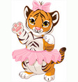 cute playful tiger cub ballerina vector image