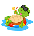Cute turtle cartoon on inflatable round vector image vector image