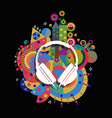 Dj Headphone icon concept music color shape vector image vector image