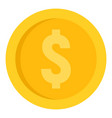 dollar coin icon flat style vector image vector image