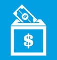donation box icon white vector image vector image