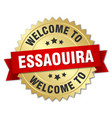 essaouira 3d gold badge with red ribbon vector image vector image