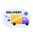 fast express delivery goods by truck vector image vector image