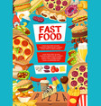 fast food menu cover for street dishes or desserts vector image