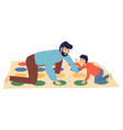 father and son playing twister at floor people vector image vector image