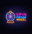 fortune wheel neon logo fortune wheel neon vector image