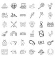 fun icons set outline style vector image vector image