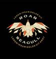 geometric seagull badge polygonal roar flying vector image