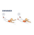 girl doing swimmers exercise fitness home workout vector image vector image