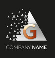 golden letter g logo in silver pixel triangle vector image vector image