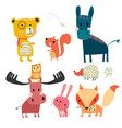 hand drawn wild animal cute character collection vector image vector image
