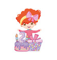 happy birthday girl cartoons vector image