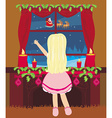 Happy New year card with Santa and the little girl vector image vector image