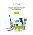 hobby painting web banner paints brushes vector image vector image