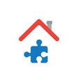 icon concept of jigsaw puzzle piece under house vector image