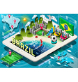 infographic brazil on tablet vector image vector image