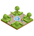 isometric people relaxing and walking in park vector image