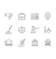 jurisprudence flat line icons set vector image