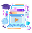 laptop with webinar player education accessories vector image vector image