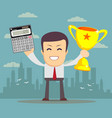 man showing a calculator and winner cup vector image vector image
